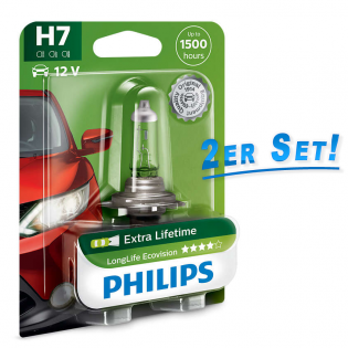 H7 12V 55W PX26d LongLife EcoVision 2st. Blister Philips 12972LLECOB1 2Set