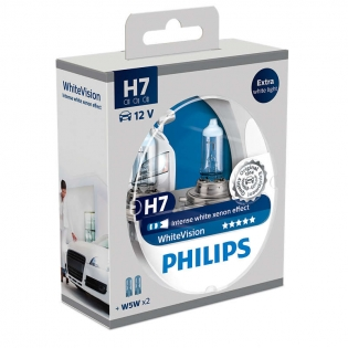 H7 12V 55W PX26d WhiteVision intense Xenon Effect 2st. + 2xW5W Philips 12972WHVSM