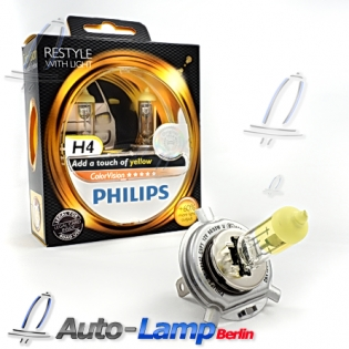 H4 12V 60/55W P43t ColorVision yellow +60% 2st. Philips 12342CVPY