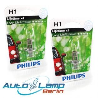 H1 12V 55W P14,5s LongLife EcoVision 2st. Blister Philips 12258LLECOB1