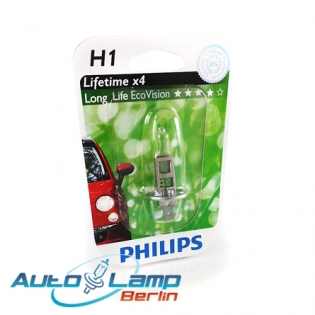 H1 12V 55W P14,5s LongLife EcoVision 1st. Blister Philips 12258LLECOB1