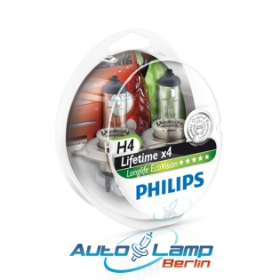 H4 12V 60/55W P43t LongLife EcoVision 2st. Philips 12342LLECOS2