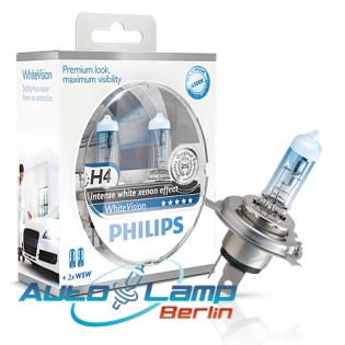 H4 12V 60/55W P43t WhiteVision 2st. + 2xW5W Philips